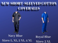 NEW SHORT SLEEVED COTTON COVERALLS