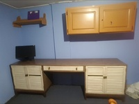 Computer desk and wall cupboard