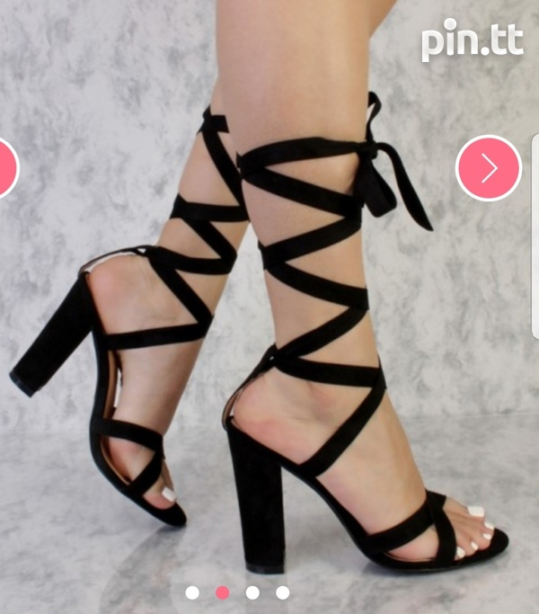Black Cross Thick Strap Chunky High Heels Faux Suede-2