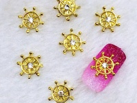 5pcs ship wheel nail charms
