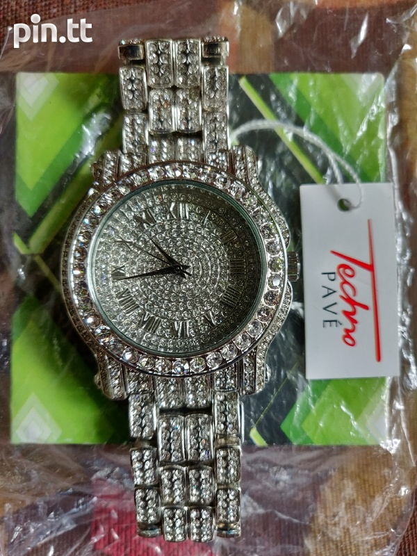 Techno Pave Diamond Silver+Gold Watches-3
