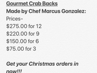 Gourmet Stuffed Crab Backs