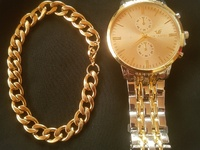 Watch and Stainless Steel hand band set