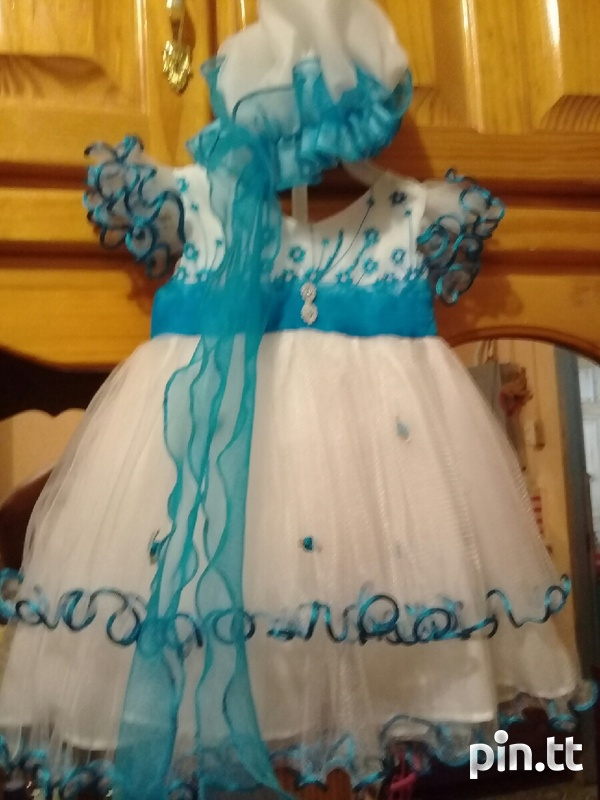 WEDDING/CHRUCH DRESS blue dress comes with HATS 0-13months-1