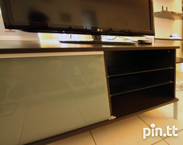 Stylish TV Stand, Glass Shelves, Drawers, Sliding Glass Front-3