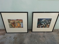 Two abstract framed prints - Reduced