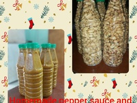 Pepper sauce and salted, spicy nuts