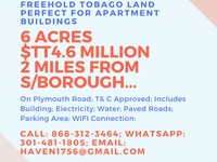 6 ACRES FREEHOLD TOBAGO LAND PERFECT FOR APARTMENT BUILDINGS