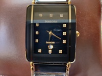 Swiss Sunborn Gold+Black Ceramic Diamond Watches Brand New