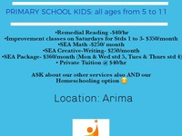 Private tutoring/lessons/homeschooling