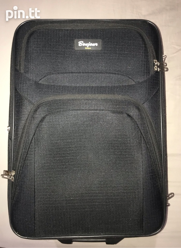 Black Carry-On Suitcase with Built-In Lock-1