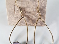Semi precious genuine Amethyst earings. Crystals.