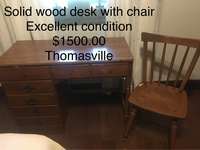Solid wooden desk with chair
