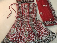Gorgeous Red Indian Wedding Lehenga with Jewelry to match