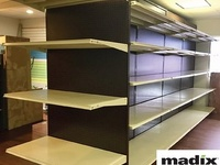Center Aisle Shelving Unit with End Shelving