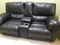 Double leather recliner