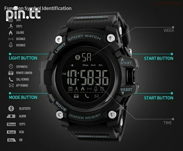 Waterproof Bluetooth Smart Watch G-Shock style, works with any phone-2
