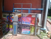 Sign scraps and old window