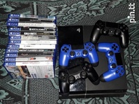 PS4 with 12 games and 4 controllers
