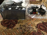 Double Din dvd deck, amps, speakers, subwoofer In box