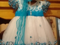 WEDDING/CHRUCH DRESS blue dress comes with HATS 0-13months