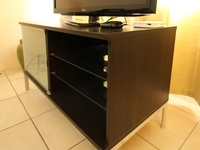 Stylish TV Stand, Glass Shelves, Drawers, Sliding Glass Front