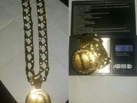 Gold Bubble Link Chain And Pendant